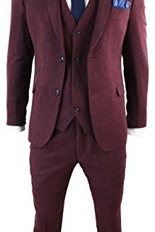 Mens-3-Piece-Marc-Darcy-Tweed-Retro-Herringbone-Wine-Navy-Trim-Slim-Fit-Suit-0