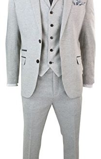 Mens-3-Piece-Tweed-Light-Grey-Suit-Tailored-Fit-Vintage-Herringbone-Wool-Blend-0