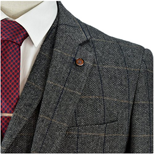 Cavani Mens 3 Piece Tweed Suit Vintage Charcoal Grey ...