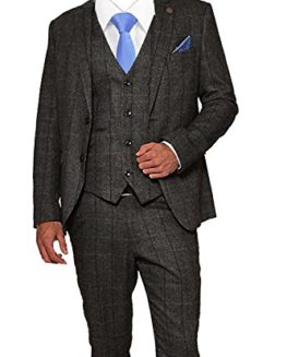 Mens-3-Piece-Tweed-Suit-Vintage-Charcoal-Grey-Herringbone-Check-Retro-Slim-Fit-Jacket-Waistcoat-Trousers-0