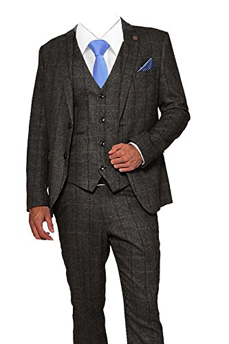 price remains stable the latest biggest discount Mens 3 Piece Classic Tweed Herringbone Check Tan Brown Slim ...