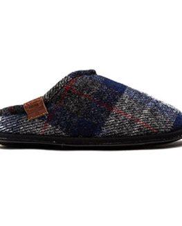 Mens-Bedroom-Athletics-Harris-Tweed-William-Navy-Black-Check-Slippers-0