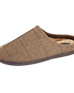 Mens-Fleece-Fur-Lined-Tweed-Mule-Comfort-Warm-Winter-Slippers-UK-7-8-9-10-11-12-0