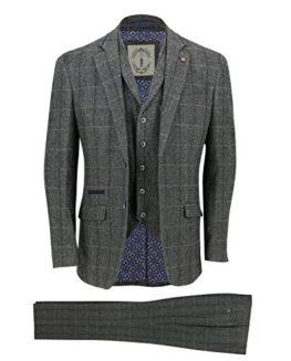 New-Cavani-Mens-3-Piece-Tweed-Suit-Vintage-Herringbone-Grey-Check-Retro-Slim-Fit-0