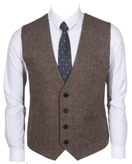 RuthBoaz-3Pockets-4Buttons-Wool-Herringbone-Tweed-Business-Suit-Waistcoat-0