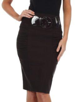 Sakkas-Petite-High-Waist-Shirred-Stretch-Pencil-Skirt-with-Wide-Belt-0