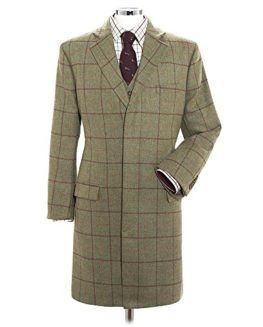 Samuel-Windsor-Mens-Classic-100-Wool-Heritage-Tweed-Long-Coats-Checked-Designs-In-Light-Green-and-Dark-Green-0