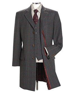 Samuel-Windsor-Mens-Classic-100-Wool-Tweed-Long-Coat-In-Grey-Green-Brown-and-Blue-Check-Designs-0