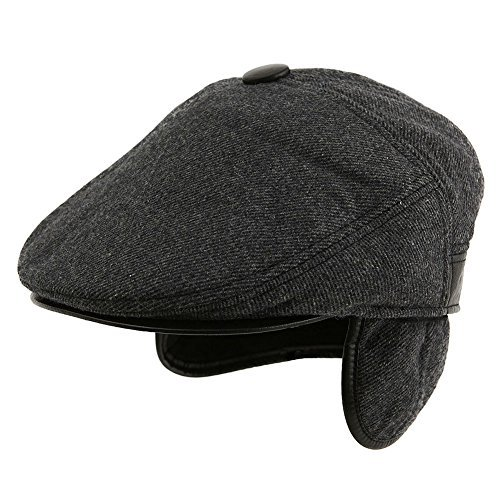 Siggi Wool Tweed Flat Cap Ivy Hat with Ear Flaps Warmer Winter Earflap  Hunting Trapper Hat for Men 957946508d9