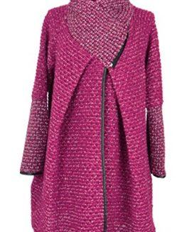 TEXTURE-Ladies-Women-Italian-Lagenlook-Popcorn-Tweed-Wool-Zip-Funnel-Cocoon-Coat-Jacket-One-Size-Plus-0