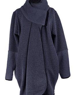 TEXTURE-Ladies-Women-Italian-Lagenlook-Tweed-Wool-Zip-Neck-Cocoon-Coat-Cardigan-Jacket-Coatigan-One-Size-Plus-0