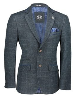 Xposed-New-Mens-Blue-Tweed-Check-3-Piece-Suit-Sold-Separately-Blazer-Trouser-Waistcoat-0