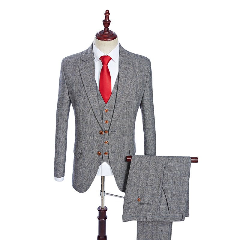 Made To Measure Grey Fine Houndstooth Check Tweed Three Piece Suit