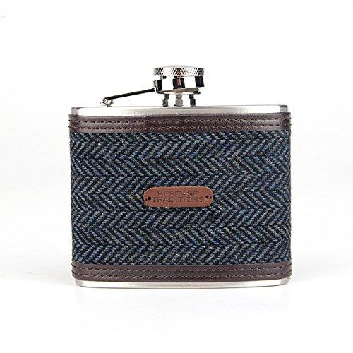 4c36085ebc76 Heritage Traditions 4oz Blue Herringbone Tweed Hip Flask - That ...