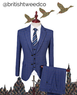 7a5d0a463c British Tweed Co – Blue Fine Check Tweed Three Piece Suit