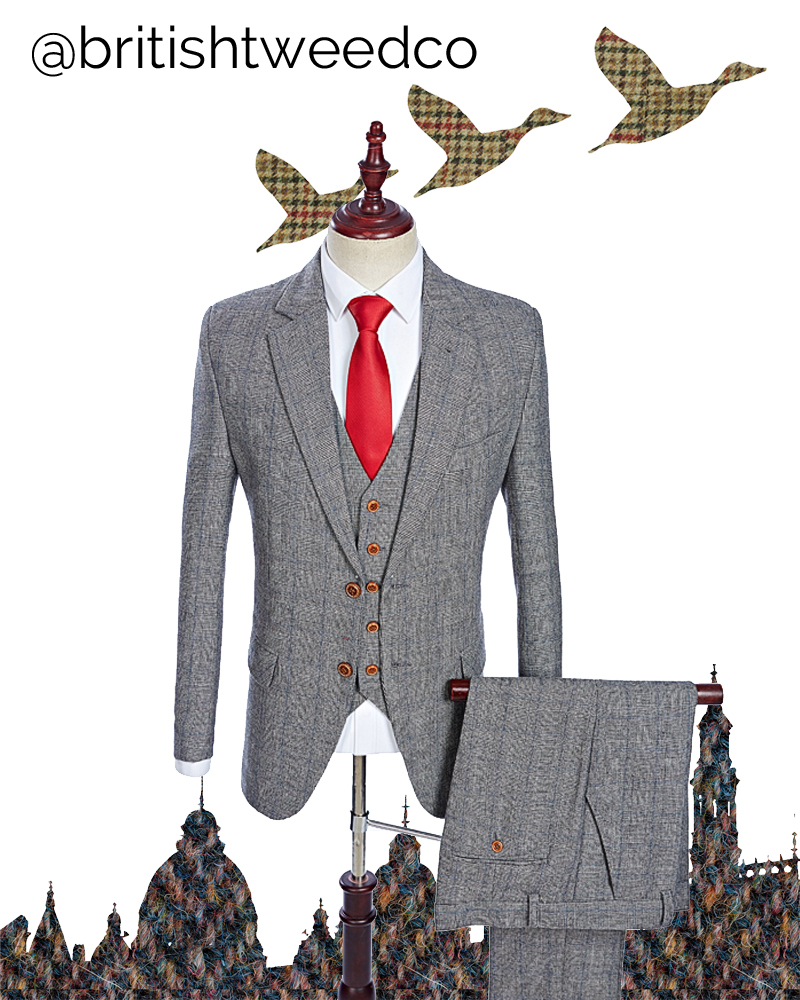 British Tweed Co Grey Fine Houndstooth Check Tweed Three Piece