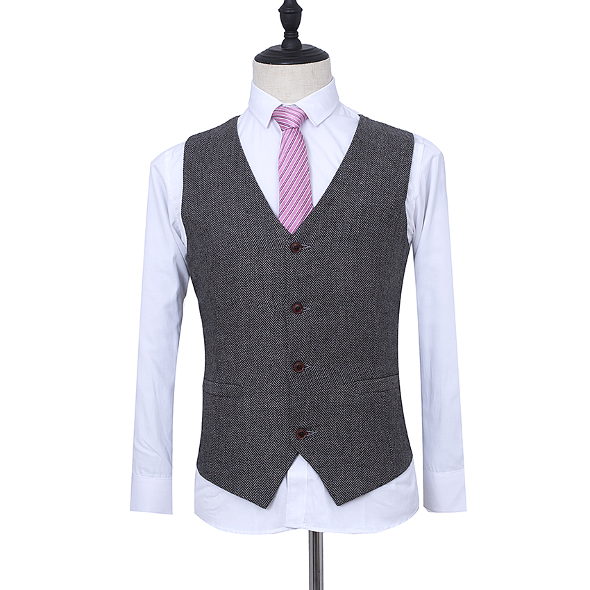 Made To Measure Classic Grey Herringbone Tweed Three Piece Suit