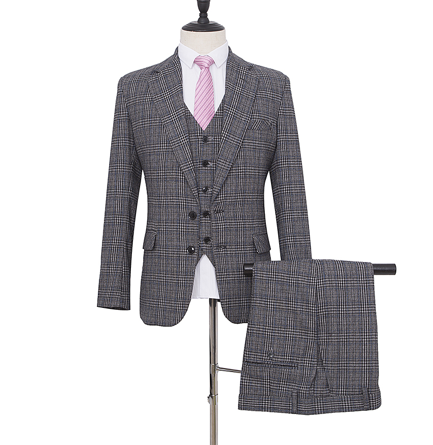 Made To Measure Grey Glen Check Plaid Tweed Three Piece Suit That