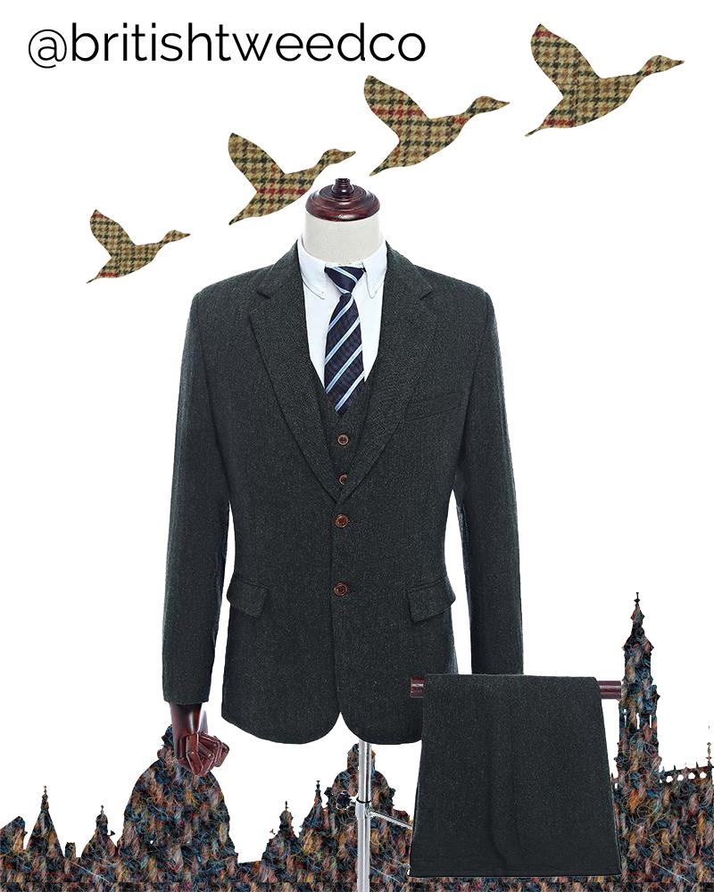 British Tweed Co Dark Green Highland Weave Tweed Jacket That