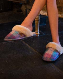 Womens Tweed Slippers
