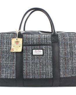 9e989bef35ae Harris Tweed Black   Grey Tartan Leather Overnight Bag