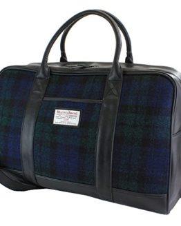 7159201518f3 Harris Tweed Black Watch Tartan Overnight Bag