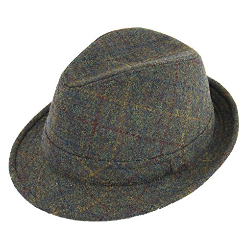 2628e47e0 Hawkins TWEED TRILBY HAT CLASSIC COUNTRY STYLE BROWN OR GREEN