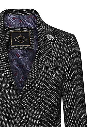 Details about Mens 34 Long Tweed Overcoat Jacket Vintage Styled Peaky Blinders Tailored Coat