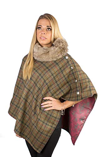 100/% wool green tweed cape with luxurious lining