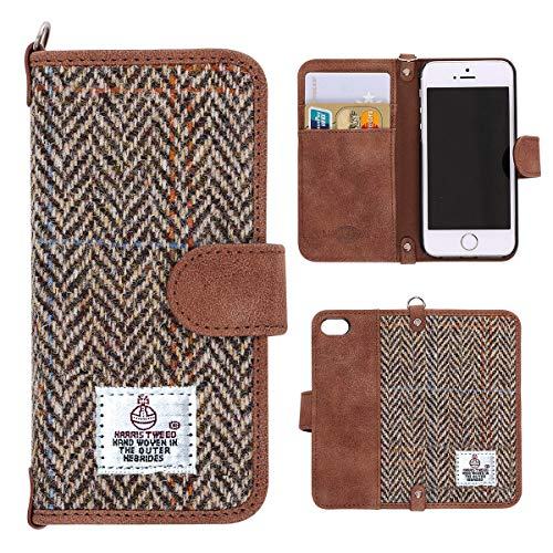 online store 94e26 3ff67 iPhone SE 5S 5 Wallet Case MONOJOY Harris Tweed Cover Retro Handmade  Fabrics and Synthetic Leather Flip Folio Book Shell with Magnetic Clasp,  Credit ...
