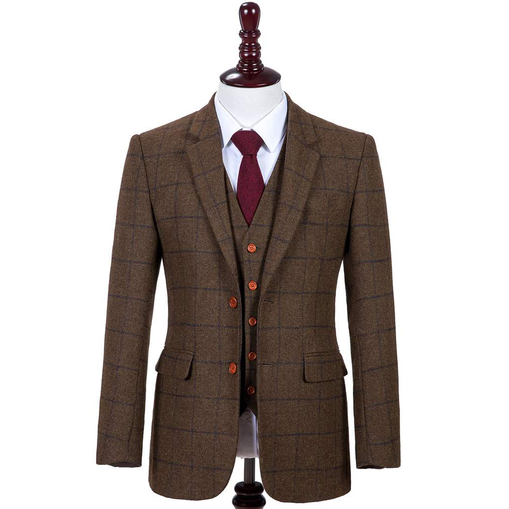 Made To Measure Brown W Navy Overcheck Tweed Three Piece Suit That